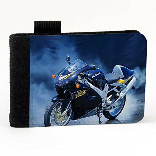 Moto 10025, Motocicletta, Nero Polyester Piccolo Cartella Congressi block notes Tasca Taccuino con Fronte di Sublimazione e alta qualità Design Colorato.Dimensioni A7-131x93mm.