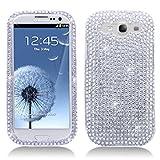 Samsung Full Diamond Bling Hard Shell Case for Samsung i9300 Galaxy S III - White plus Silver