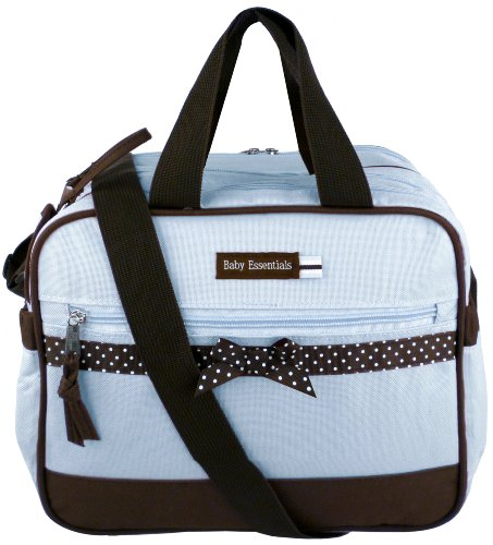 Baby Essentials Blue Dots Ribbon Baby Boy Diaper Bag / Cooler