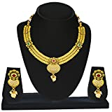 Kanish Finely Crafted Gold Studded Pearl & AD Pota Stone Necklace Set