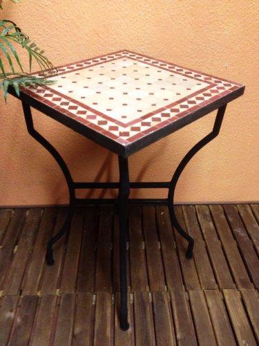 Mosaiktisch Beistelltisch Marrakesch Natur/ Bordaux, 50x50cm NEU günstig kaufen