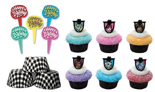 New 24 Monster High Cupcake Decoration Rings with 6 Happy Birthday Picks and 24 Black Plaid Baking C...