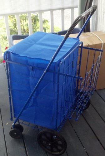 Swivel wheels folding shopping laundry cart with double basket cart blue ebay - Collapsible laundry basket with wheels ...