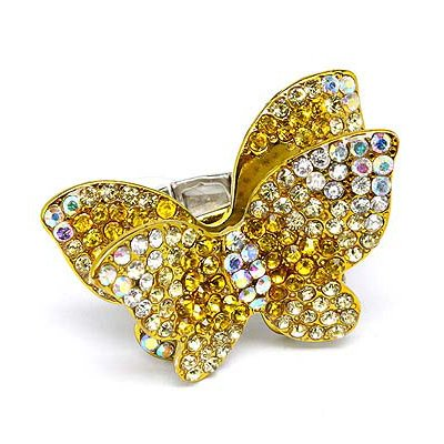 Beautiful Butterfly Crystal Pave Stretch Ring Yellow