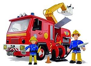 Simba 109257661 - Feuerwehrmann Sam Jupiter Feuerwehrauto mit 2 Figuren 28cm