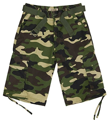Access Men's Camouflage Cargo Shorts with Belt 42 Green Green Camouflage Shorts