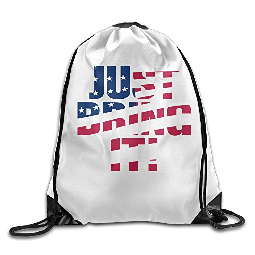 WLF Men's Women's Print Shoulder Drawstring Bag Port Bag Backpacks String Bags School Rucksack Gym Bag Just Bring It White. (Jansport Trolley Bags compare prices)
