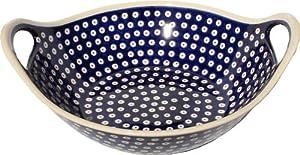 """Polish Pottery Bowl with Handles From Zaklady Ceramiczne Boleslawiec #1347-42, Diameter: 12"""""""
