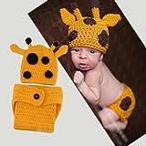 Generic Lovely Handmade Giraffe Theme Woolen Crochet Set Baby Newborn Outfit Photo Propyellow