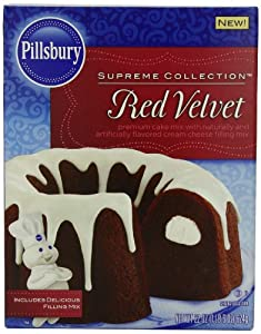 Pillsbury Supreme Collection, Red Velvet Cake Mix with Cream Cheese Filling, 22 Ounce (Pack of 8)