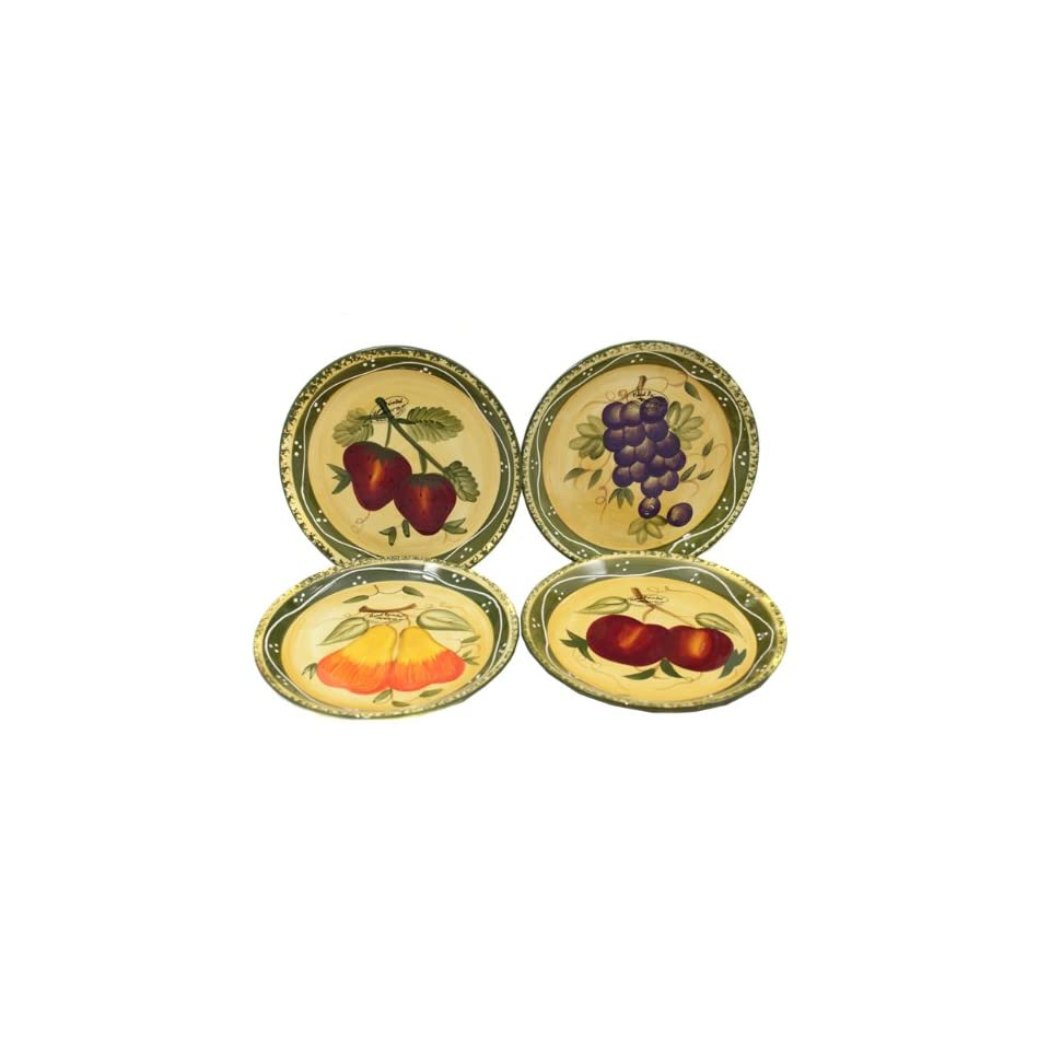 Tuscan Collection Deluxe Hand Painted 4 Piece Salad Plates Kitchen & Dining