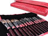 51AW6JqvEzL. SL160  Bundle Monster 15pc Studio Pro Makeup Make Up Cosmetic Brush Set Kit w/ Pink Faux Crocodile Case   For Eye Shadow, Blush, Eyeliner, Etc.
