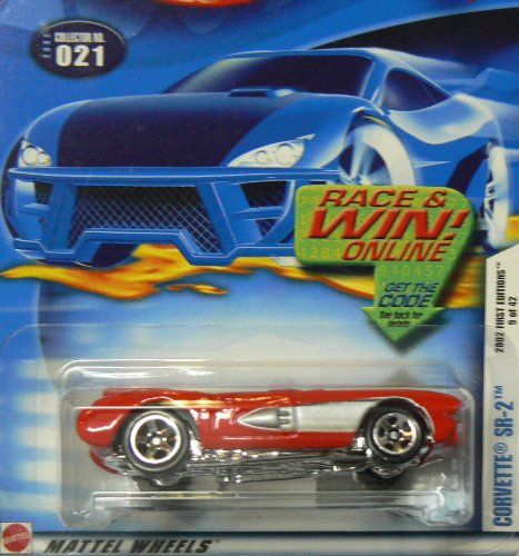 Hot Wheels 2002 First Editions 9 of 42 Corvette SR-2 Race and Win Card - 1