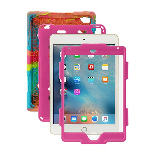 iPad Mini 4 Case, for Kids Aceguarder®[Shockproof] *Military Grade Heavy Duty* Rainproof Full Rugged Silicone with Kickstand & Screen Protector for Apple iPad Mini 4 2015 (4th Generation)-Ice/Rose (Ad Mini Case compare prices)