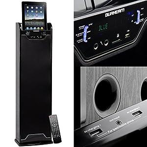 DURHERM Bluetooth Wireless Tower Floor Standing Home Audio Speaker FM SD USB RCA Aux Karaoke Dual Charging Dock for Iphone Ipad Tablet Andoid Galaxy
