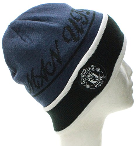 Manchester United Winter Beanie Soccer Futbol Knit Hat Cap (One Size, Cuff Blue Black) (Manchester United Hats And Caps compare prices)