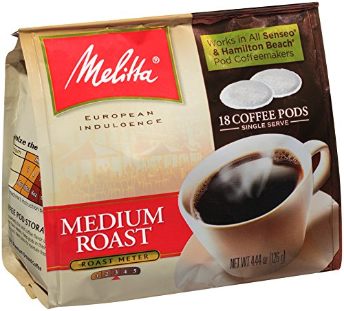 Melitta Coffee Pods for Senseo and Hamilton Beach Pod Brewers, Medium Roast, 4.44 oz bags (Pack of 6, 18 Count Each) (Brewers Coffee compare prices)