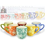 Set of 6 Multicolor Floral Design Earthenware Coffee Mugs / Novelty Ceramic Hot Beverage Drinkware Cups