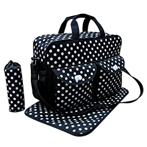 Black 3pcs Baby Diaper Nappy Changing Bag Set E:Polka Dot by just4baby