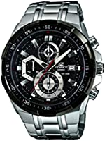 Edifice Men's Quartz Watch with Black Dial Analogue Display and Silver Stainless Steel Bracelet
