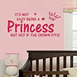 Quote NOT EASY BEING A PRINCESS girl wall sticker vinyl home DECAL kid decor