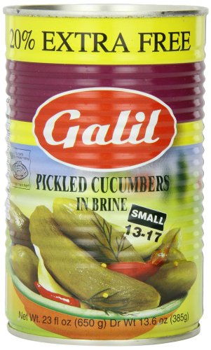 Galil Pickled Cucumbers in Brine, (Small 13-17) + 20% Extra, 23-Ounce Cans (Pack of 6) (Pickles In Brine compare prices)