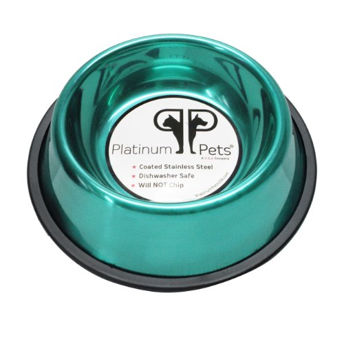 Platinum Pets 3 Cup Non-Embossed Non-Tip Dog Bowl, Teal
