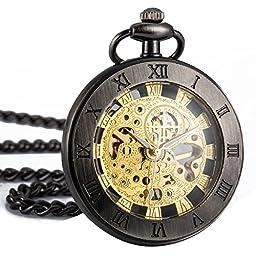 WENSHIDA Steampunk Bronze Open Face Golden Movement Mens Mechanical Pocket Watch with Chain + Gift Box