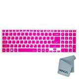 MiNGFi Silicone Keyboard Cover Protector Skin for Acer Aspire 5755 5755G 5830 5830G 5830T 5830TG Ethos 5951G 8951G 5755G V3-571G V3-551G V3-771G US Keyboard Layout - Translucent Hot Pink