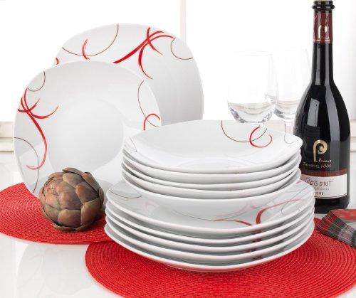 tafelservice geschirr 12tlg weiß rot janna ~ Geschirr Rot