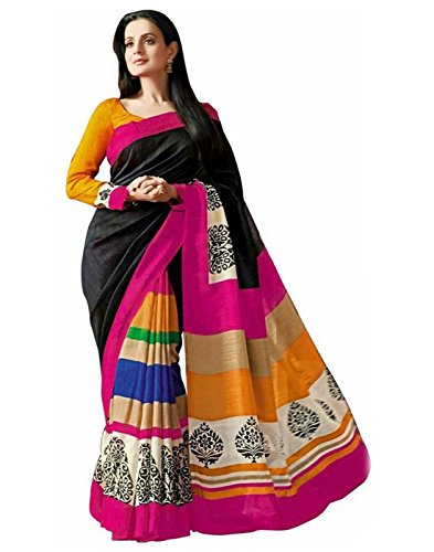 Yashoda Textile Multi Color Bhagalpuri Silk Printed Sarees With Un-Stitched Blouse Piece (1y.s_552_Multi)
