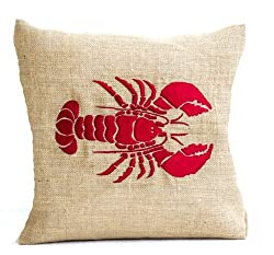 Amore Beaute Handcrafted Red Lobster Embroidered Pillow Cover in Natural Burlap - Sea Pillow Cover Nautical Accent for Beach Decor - Embroidered Pillow Cover (16
