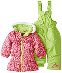 Pink Platinum Baby Girls\' All Over Cheetah Snowsuit, Pink, 24 Months