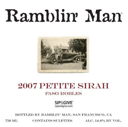 2007 Bravium Winery Ramblin' Man Petite Sirah Paso Robles, 750Ml