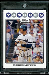 2008 Topps # 455 Derek Jeter - New York Yankees - MLB Baseball Trading Card in a Protective Screw Down Display Case