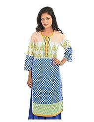 Fashiana Women's Cotton Straight Long Kurti (FKRT028 , Blue & Yellow , 42)