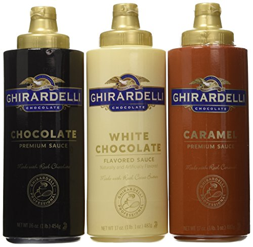 Ghirardelli Squeeze Bottles - Caramel, Chocolate & White Chocolate - Set of 3 (Chocolate Sauce Coffee compare prices)