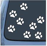 動物 犬 足跡 足型 肉球 マーク  ステッカー シール デカール ホワイト 8個セット (2.5cm)