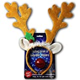 Reindeer Antlers & Light-up Blinking Flashing Nose - One Size Fits All This Christmas Season