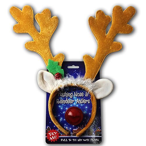 Reindeer Antlers & Light-up Blinking Flashing Nose - One Size Fits All This Christmas - 1