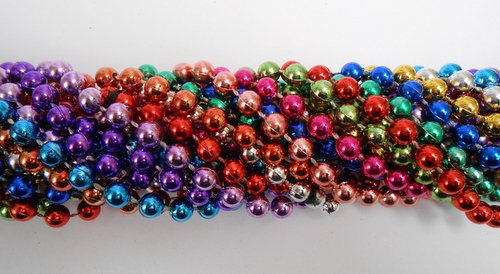 33 inch 7mm Round Metallic 12 Color Mardi Gras Beads - 6 Dozen (72 necklaces)