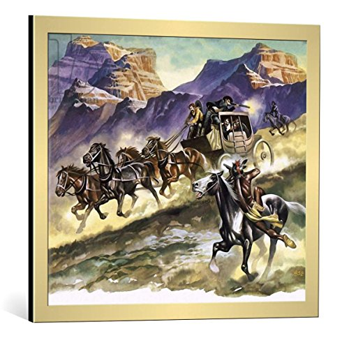 framed-art-print-ron-embleton-red-indians-attacking-a-stage-coach-decorative-fine-art-poster-picture