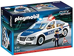 Playmobil - 5184 - Jeu de Construction - Voiture de Police avec Lumières Clignotantes