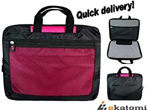 """Magenta / Hot Pink and Black Laptop Travel Case Bag for 17"""" HP G72-B15SA Notebook. Bonus retractable cleaning brush for your device and A carabiner hook for your keys. from Kroo"""