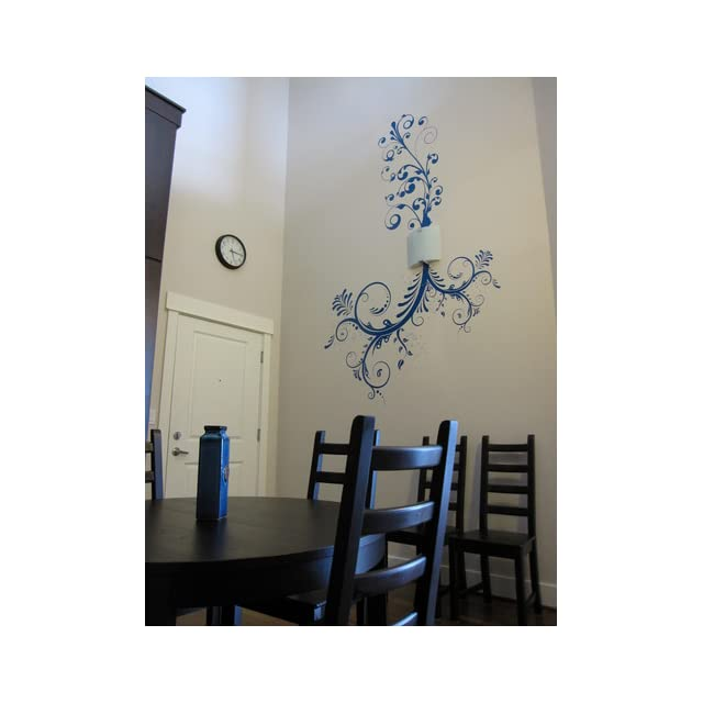 Stickerbrand© Floral Décor Vinyl Wall Art Flower Ornaments Wall Decal Sticker   Black, 44 x 66. Easy to Apply & Removable.