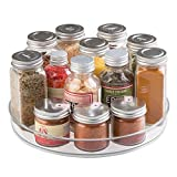 mDesign Lazy Susan Turntable Spice Organizer for Kitchen Pantry, Cabinet, Countertops - Clear