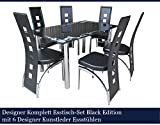 Calabaza-Designer-Esstisch-Set-Black-Edition-Esszimmer-Set-Tisch-Glastisch-Glas-Designer-Kunstleder-Esssthle-150cm-x-90cm-x-76cm