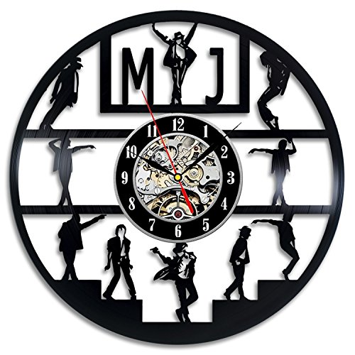 [Michael Jackson Art Vinyl Wall Clock Gift Room Modern Home Record Vintage Decoration] (Michael Jackson Decorations)
