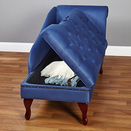 Elegant Upholstered Button Tufted Storage Chaise (Blue) 1