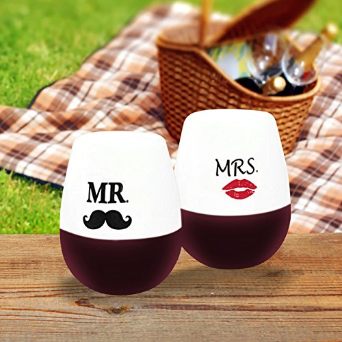 Unbreakable Silicone Stemless Wine Glass Set. Fun Wedding Gift - Bachelorette Party Tumbler